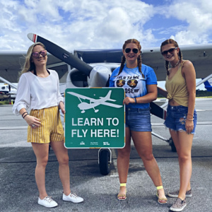 Certified Flight Instructor Shannon (on left) with Madri and Shelbi (on right) taking their first discovery flight